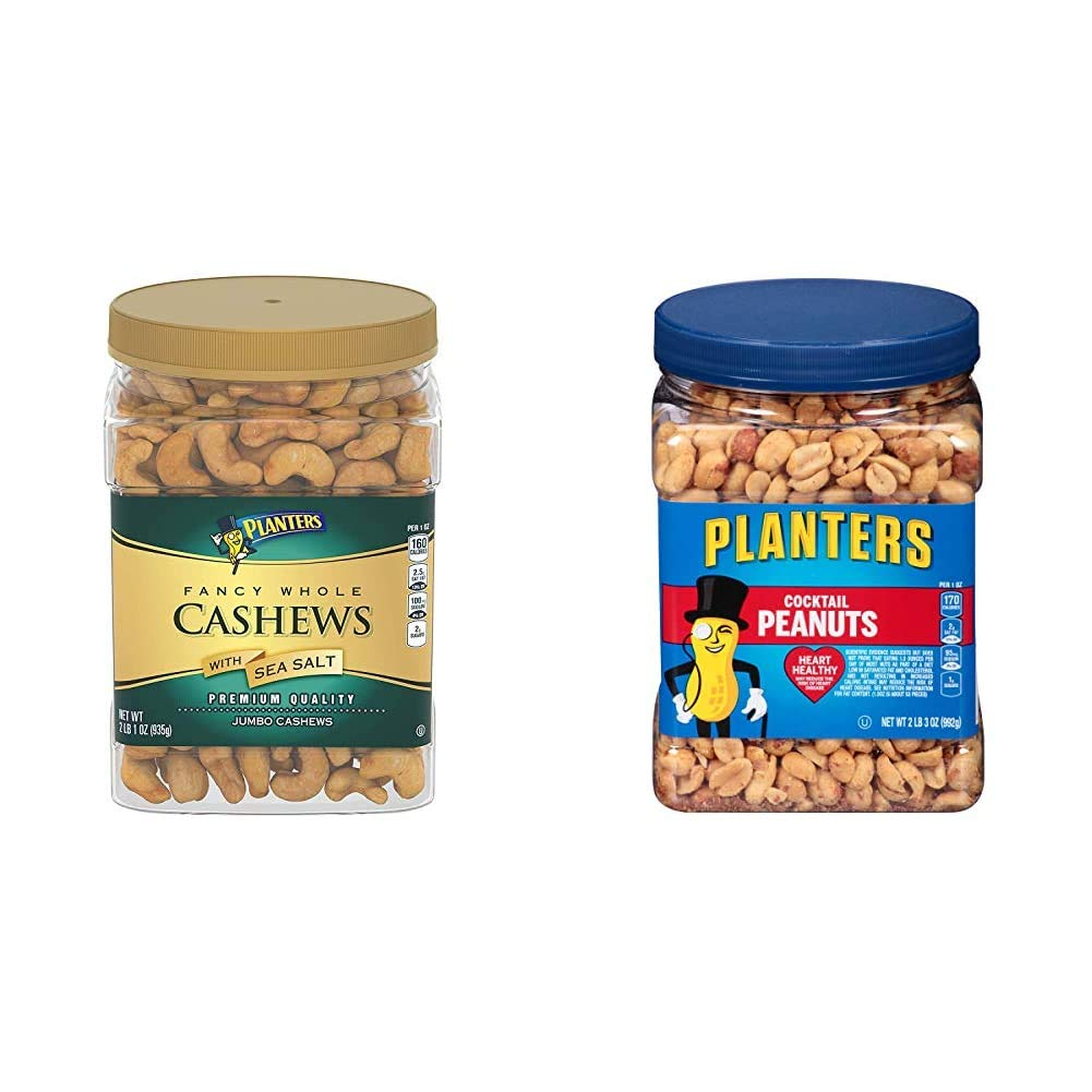 PLANTERS Fancy Whole Cashews with Sea Salt, 33 oz. Resealable Jar - Snack for Adults Made with Simple Ingredients - Kosher & Salted Cocktail Peanuts, 35 oz. Resealable Jar - Kosher