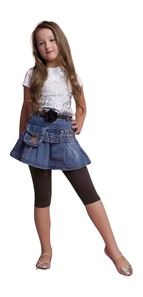 Ossa Fashion Girls Cropped Children 3//4 Cotton Leggings Basic Plain Kids Capri Pants Age 3-11