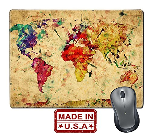 """Liili Natural Rubber Mouse Pad/Mat with Stitched Edges 9.8"""" x 7.9"""" Vintage world map Colorful paint watercolor retro style expression on grunge Photo 19290383"""