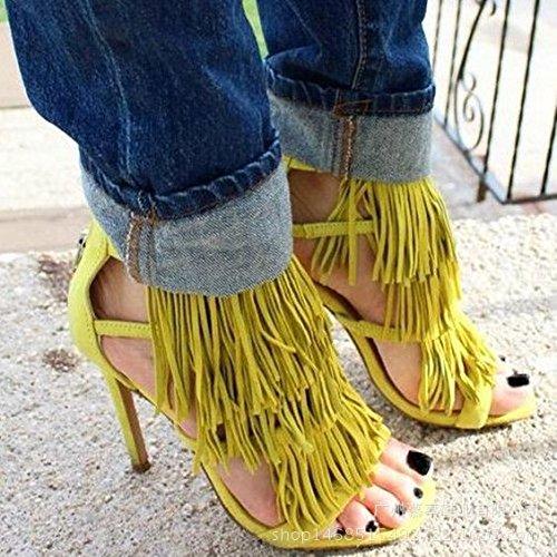Estilo de Roma sandalias de tacón alto de las borlas de sandalias de tacón alto Zapatos de mujer Yellow