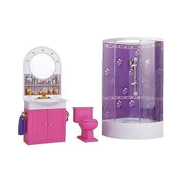 1/12 Dollhouse Mínimo Cuarto De Baño Cuarto Con Ducha Tabla Aseo y ...