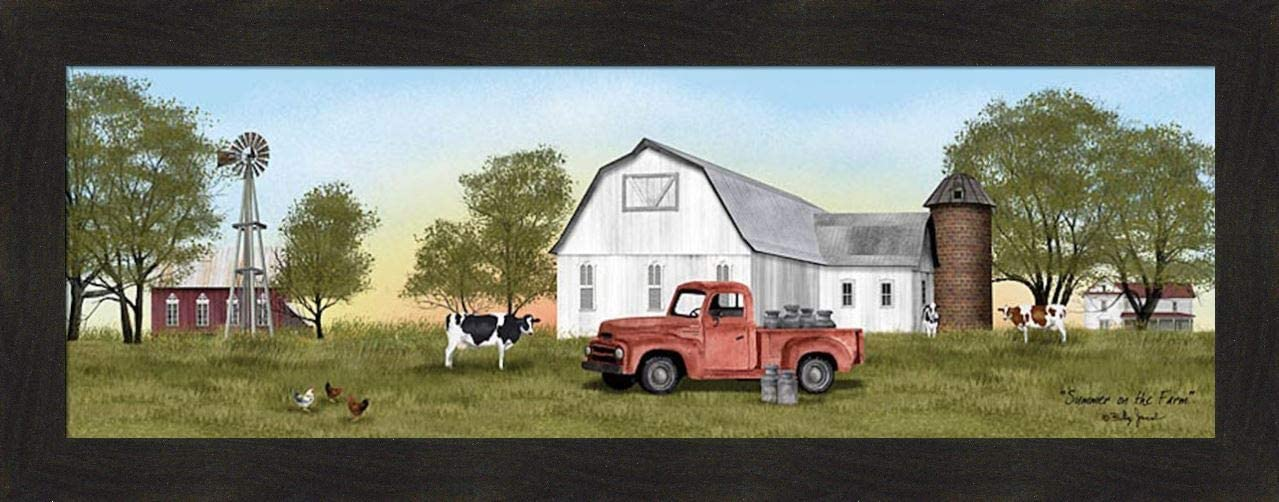 Home Cabin Décor Summer On The Farm by Billy Jacobs 16x40 Cows Chickens Milk Cans Jugs Old Truck Barn Silo Windmill Seasons Framed Art Print Picture