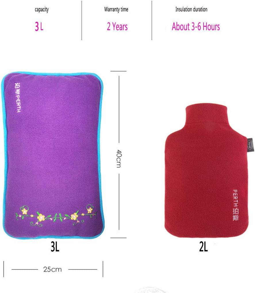 YUEHAPPY/® 3L Gro/ße warmes Bett W/ärmflasche PVC-Wasser-Heizung-Handtasche Warm-Wasser-Beutel-purpurrotes Gummi