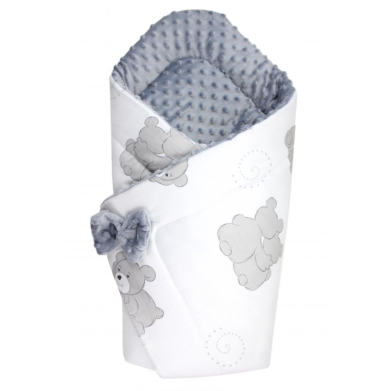 TupTam Baby Winter Einschlagdecke Warm Wattiert Minky Farbe: Bärchen Grau