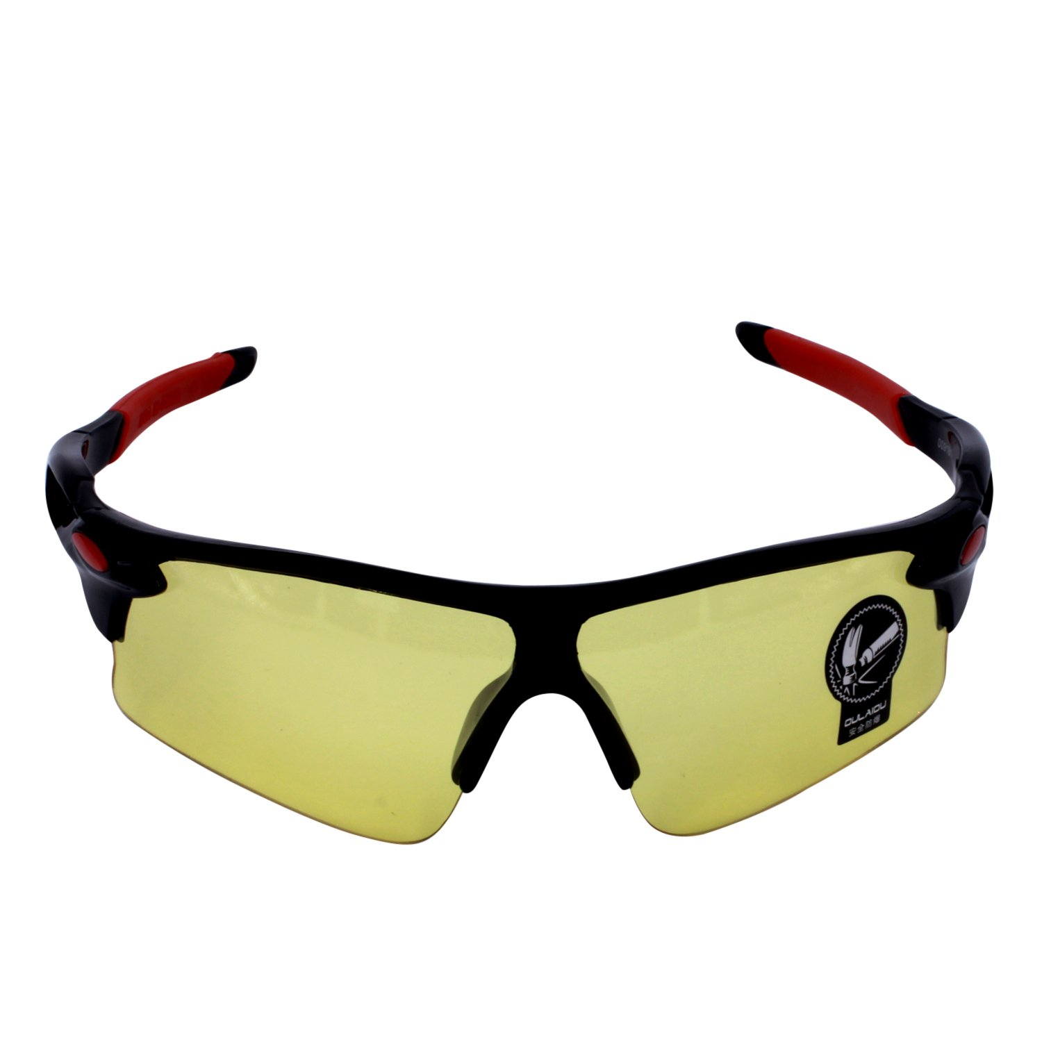 Polarized Sports Sunglasses 100% UV Protection Outdoor Cycling Sunglasses for Driving, Running, Fishing, Golf and Sports(black(night vision) yellow Lens)