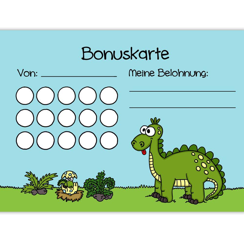 5x Bonuskarten Dino DIN A6 Bonuskarte Belohnungssystem Kinder für Jungen Mädchen Punkte sammeln Belohnungstafel Fleißkärtchen Fleißkarte Töpfchentraining Hausaufgaben Hausarbeit Haushalt Stempelkarte Punktekarte Mausmimi