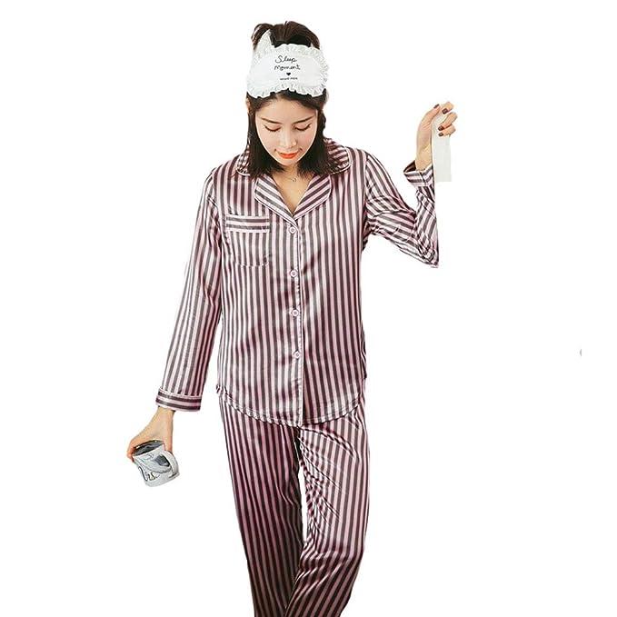 Pijamas de Mujer, Bata de Seda de Manga Larga con Rayas: Amazon.es ...