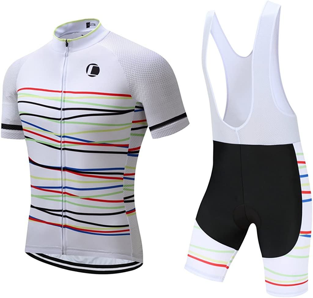 Summer Men's Cycling Jersey Road Bike Jersey Cycling Bib Shorts with 4D Padded Cycling Clothing Set for Men: Clothing