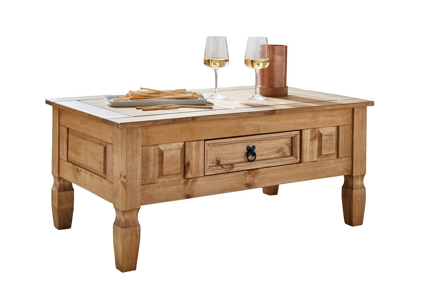 Giomoebel   Holz-Couchtisch   Wohnzimmer-Tisch   mit Schubfach   massives Kiefernholz   100 x 60 cm   AARGAU