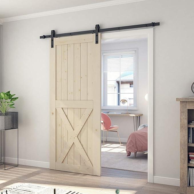 SmartStandard - Puerta corrediza de madera de granero de 36 pulgadas x 84 pulgadas, pre-perforada, lista para montar, bricolaje, sin acabado, con panel de madera de ciprés, solo para puerta interior, natural,