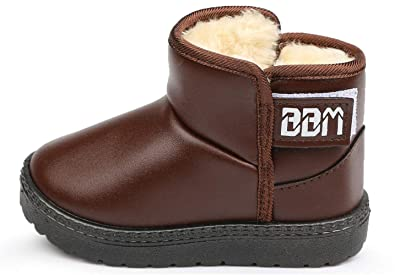 530852fc1790a YOGLY Enfant Bottes de Neige Hiver Fille Bébé Chaussures d hiver Fourrure  Chaudes Antidérapant Boots