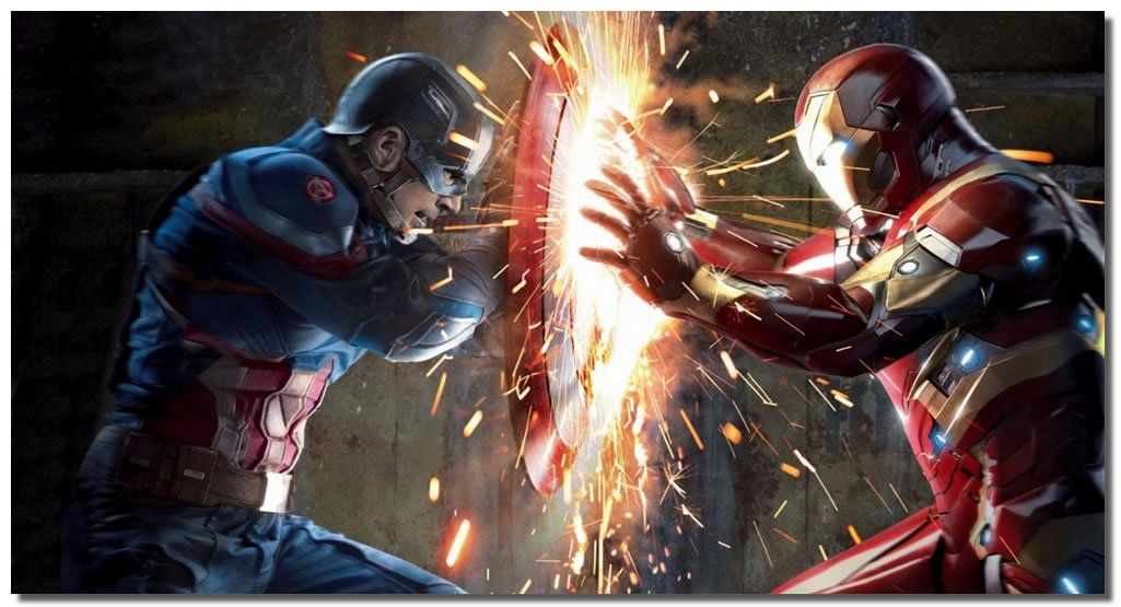 Picture Sensations Framed Canvas Art Print, Captain America Civil War Vs Iron Man - 36''x20''