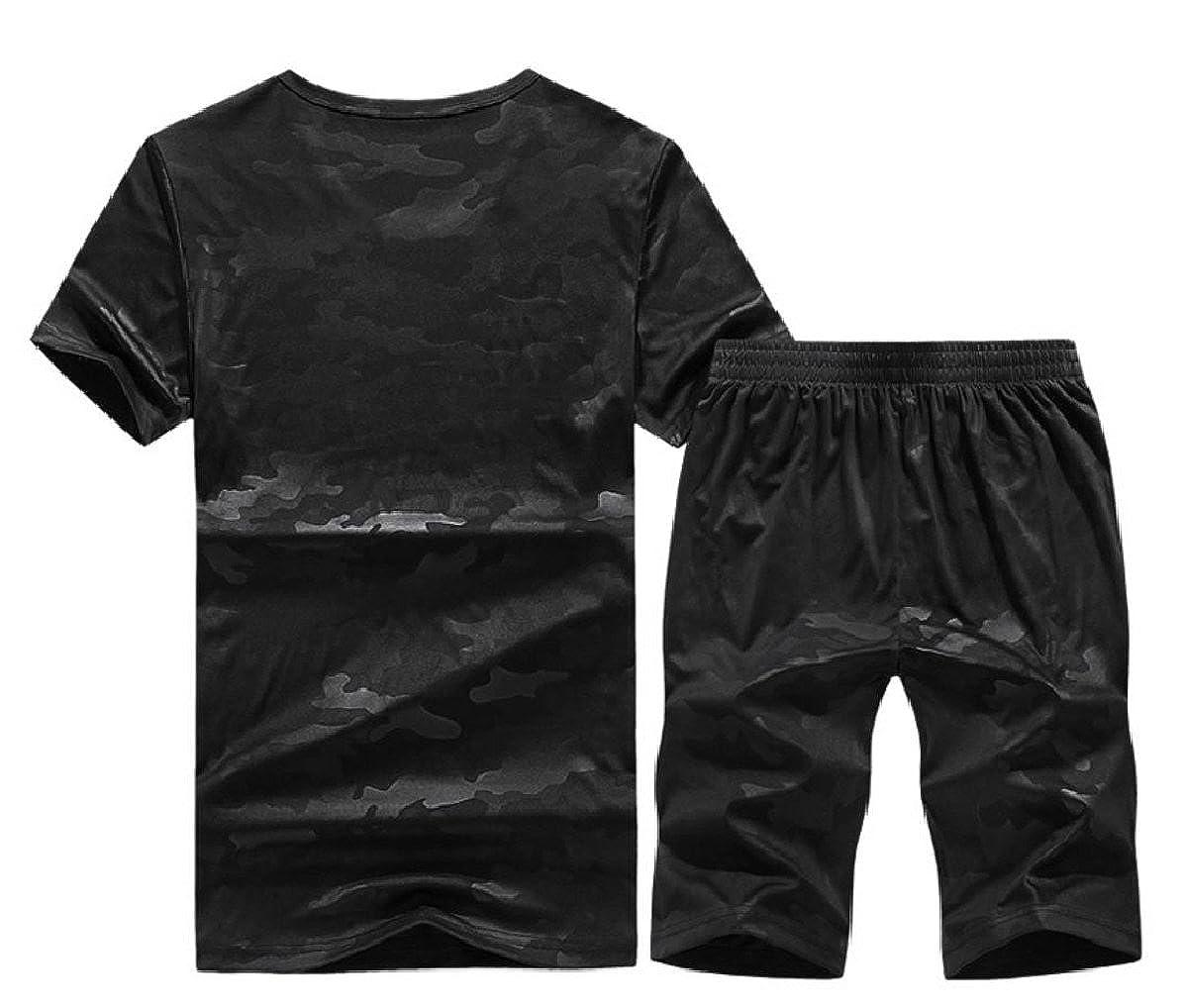 CuteRose Men Short Sleeve Thin Juniors Camouflage Color Sweatsuit Set