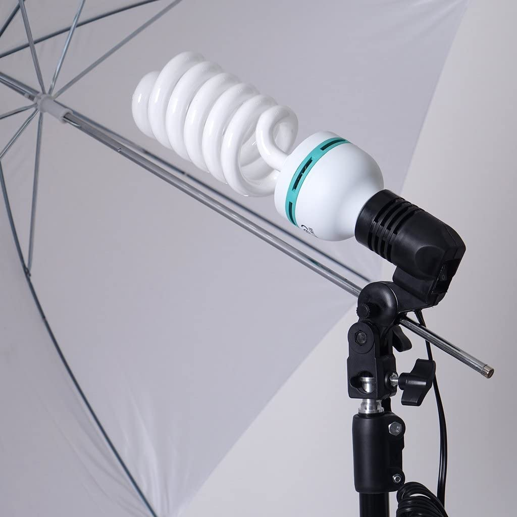 Tableclothsfactory 1200 Watts White Umbrella Soft box Continuous Lighting Photo Video Studio Kit With Chromakey Background Muslins