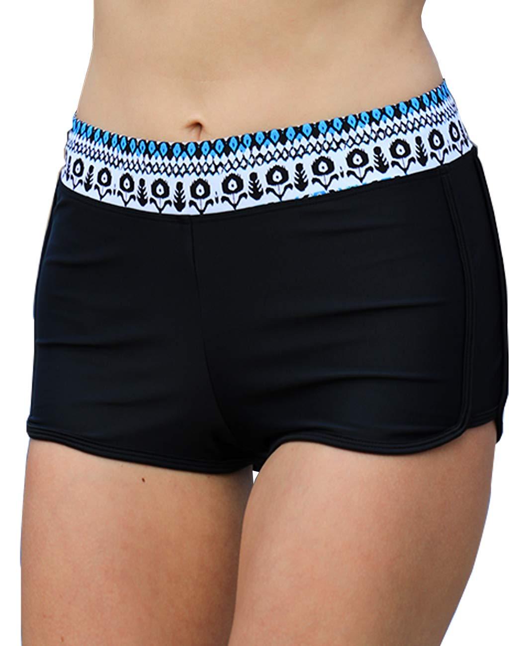 Kostenloser Versand iDrawl Damen Schwarze Bikinihose mit Blumen Taillenbund Mädchen Schwimmshorts für Gr.34-48 Schwarz xhsamzGK