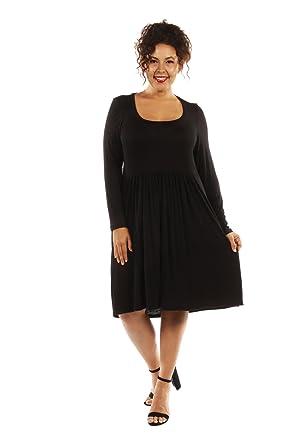 247 Comfort Apparel Plus Size Dresses Long Sleeve Short For Womens