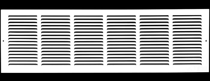 "30""w X 10""h Steel Return Air Grilles - Sidewall and Ceiling - HVAC Duct Cover - White [Outer Dimensions: 31.75""w X 11.75""h]"