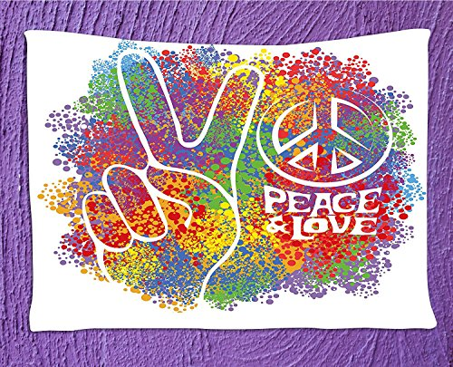 70s Party TapestryHippie Peace and Love Symbol and Signs