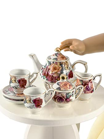 18u201d doll antique rose fine china service for two tea set kitchen dish accessory