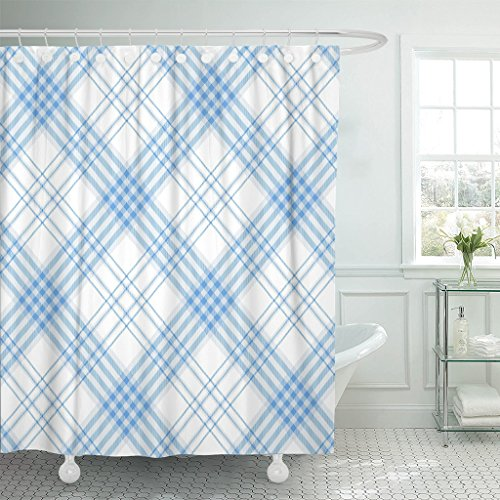 TOMPOP Shower Curtain Gingham Plaid Pattern Checkered in Str