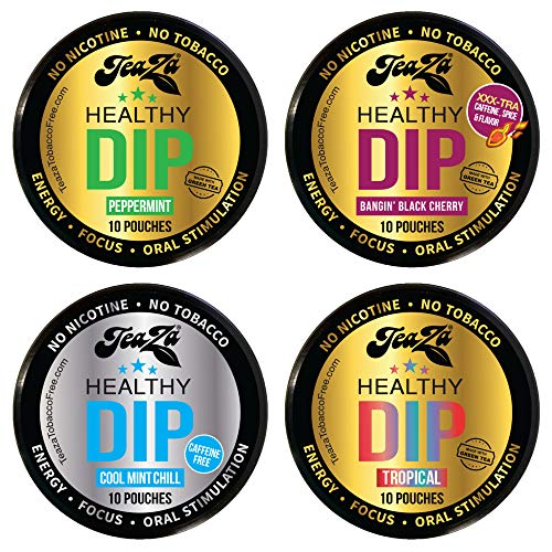 NEW Teaza Herbal Energy Pouch Mixed (4 pack) Peppermint-Tropical-Chill-Banging Black Cherry