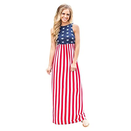 ef12f4f00f WuyiMC Hot Sale! Women USA American Flag 4Th July Sleeveless Long Maxi  Dress Summer Casual