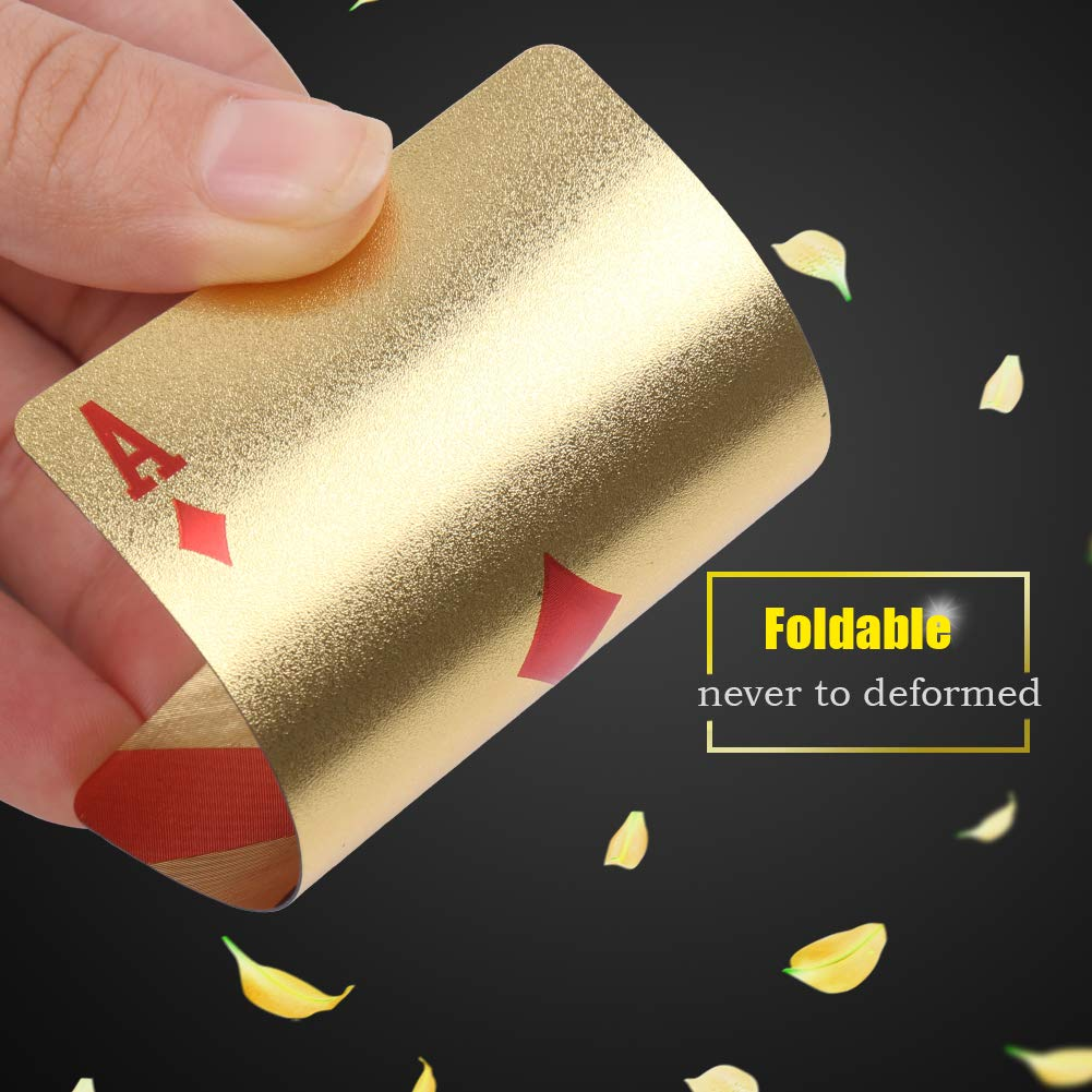 Game and Party Waterproof Poker with National Flag Pattern in Gift Box for Magic Joyoldelf Luxury Gold Foil Playing Cards