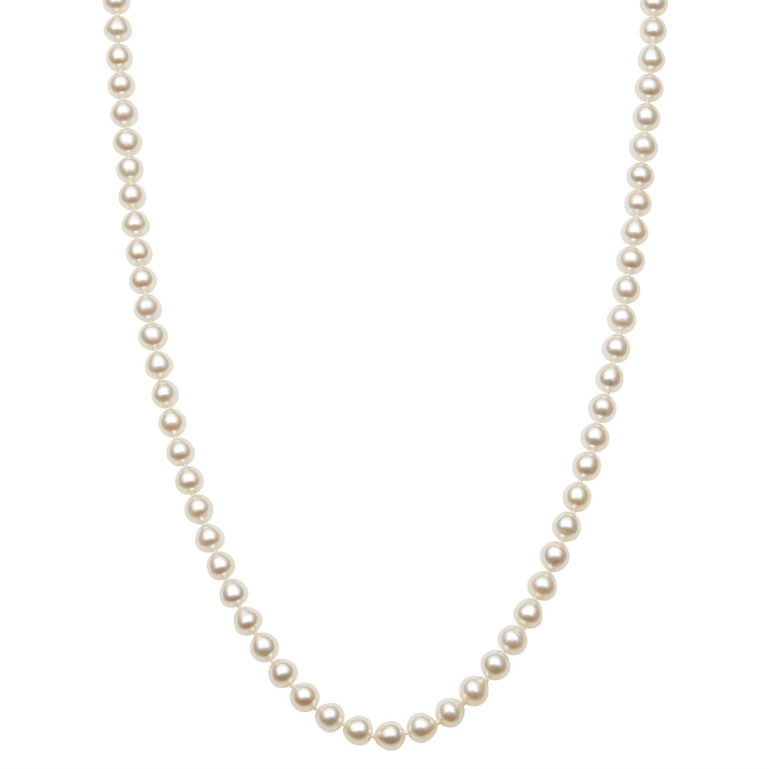 Endless Style 6.0-6.5mm White Cultured Freshwater Pearl Strand Necklace, 64'' No Metal by Pearlzzz
