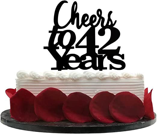 Tremendous Cheers To 42 Years Cake Topper 42Nd Birthday Wedding Anniversary Funny Birthday Cards Online Fluifree Goldxyz