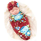 Galabloomer Newborn Receiving Blanket Headband Set Baby Flower Rose Swaddle with Big Bow (Burgundy)