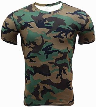 Camisa de manga corta de compresión, ropa absorbente de sudor y de secado rápido, camiseta de camuflaje para deportes al aire libre, medias deportivas para correr, Army Green_S, camisa de compresión: Amazon.es: