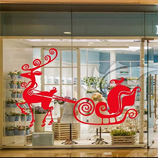 YuanMinglu Reno Feliz Navidad Adhesivo Home Art Adhesivo ...