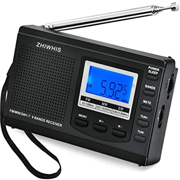 AM/FM/SW Radio, ZHIWHIS Portable Digital Alarm Clock Radio with Sleep Timer Function, Battery Operated Stereo Radio, Earphone Included (Battery ...