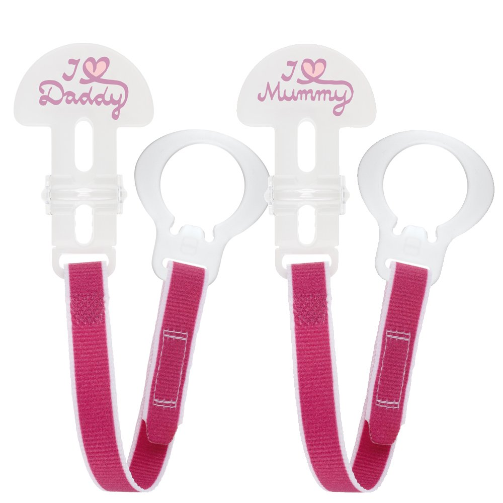 Pack of 2, Pink MAM I love Mummy and Daddy Soother Clip
