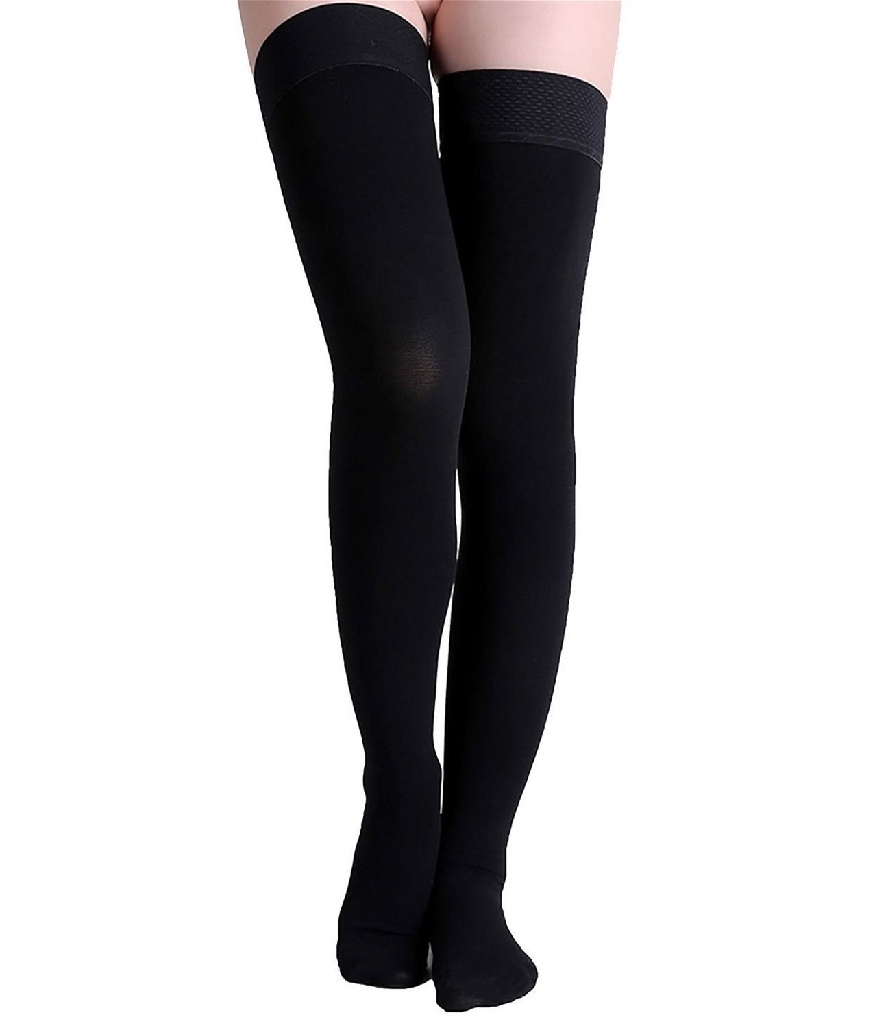 Runee High Quality Thigh High Closed Toe Compression Stockings Best For Swelling, Varicose Vein, DVT, Edema, Spider Vein, Travel, Pregnancy (Black, S/M)