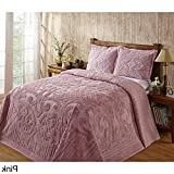 1 Piece 102 X 110 Oversized Pink Chenille Bedspread Queen, French Florals Medallion Cotton Classic Vintage Retro Antique Hangs To The Floor Bedding, Extra Long Wide Soft Country