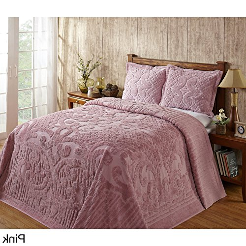 1 Piece 102 X 110 Oversized Pink Chenille Bedspread Queen, French Florals Medallion Cotton Classic Vintage Retro Antique Hangs To The Floor Bedding, Extra Long Wide Soft Country by D&H