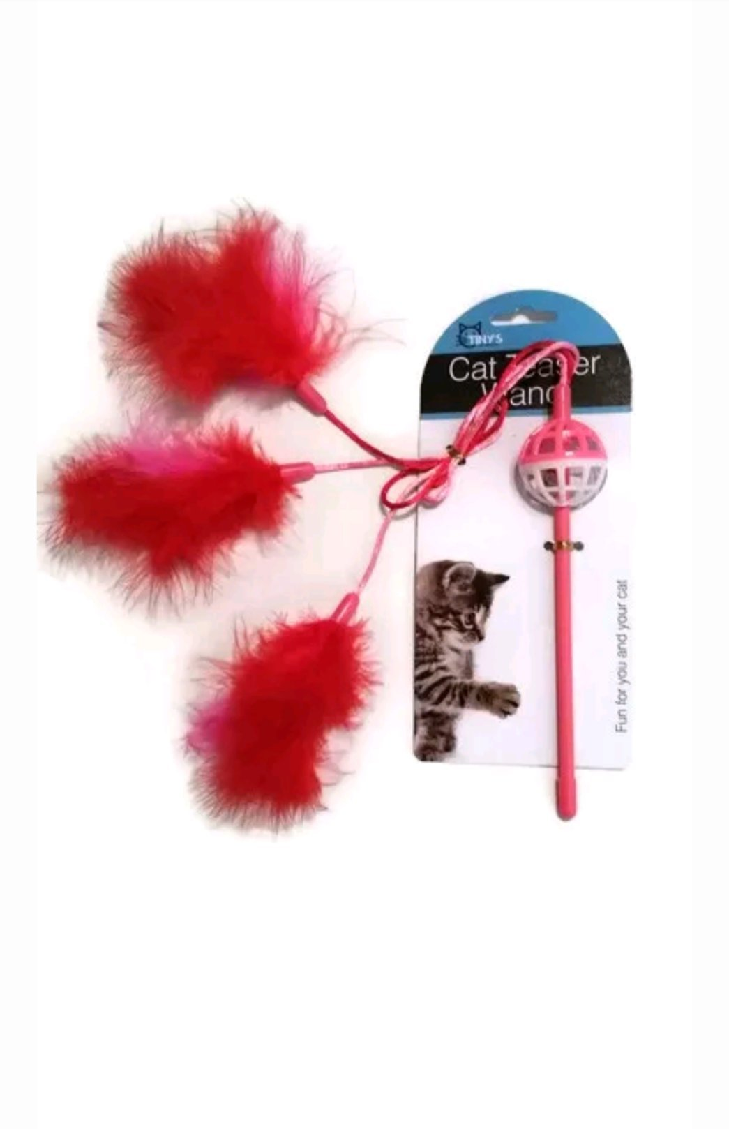 Kole Imports Cat Teaser Wand with Feathers