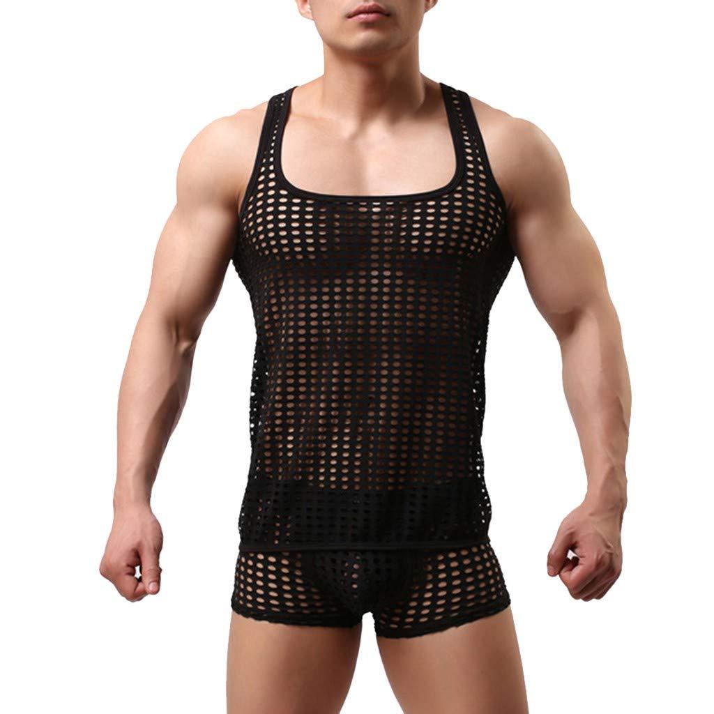 Sexy Lingerie Set for Men for Sex, Jiayit Men's Hollow Mesh Nets Lingerie Sexy Underwear Set Boxer Briefs Top Tank Vest