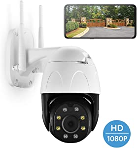 TENVIS PTZ 1080P Outdoor Security Camera, 1080P FHD WiFi Home Surveillance Camera with Phone App, Night Vision IP Camera, IP66 Waterproof, Pan/Tilt/Zoom, 2Way Audio, Motion Detection, Works with Alexa