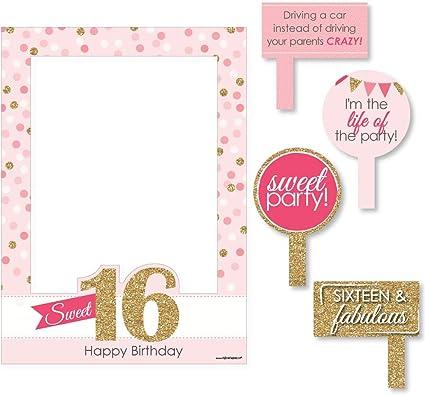 Wonderbaar Amazon.com: Big Dot of Happiness Sweet 16 - Birthday Party Selfie RO-03
