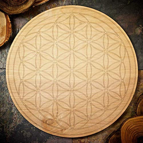 (Large Flower of Life Wood Grid Board - Large Sacred Geometry Grid Board - 11.75 inches)