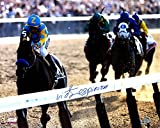 #8: Victor Espinoza Signed 16x20 American Pharaoh 2015 Belmont Stakes Final Stretch Photo Steiner