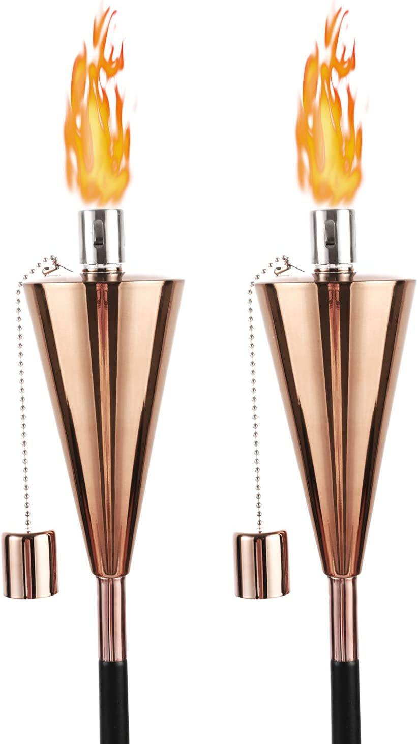 FAB BASED Set of 2 Citronella Torches Outdoor,55 inch Mosquito Torch for Patio/Backyard/Garden, Oil Lamps Real Flame (Rose Golden