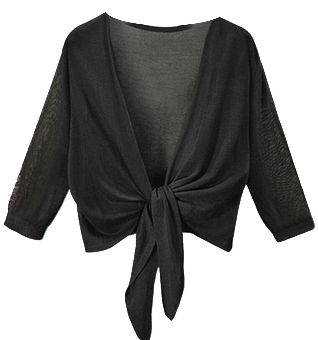 Alion Womens 3/4 Sleeves Front Tie Knot Shrug Bolero Cardigan Top Black L