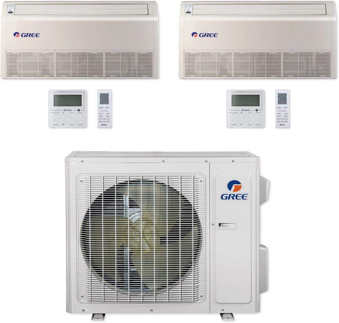 Gree MULTI24CFLR201-24,000 BTU Multi21+ Dual-Zone Floor/Ceiling Mini Split Air Conditioner Heat Pump 208-230V (9-12)