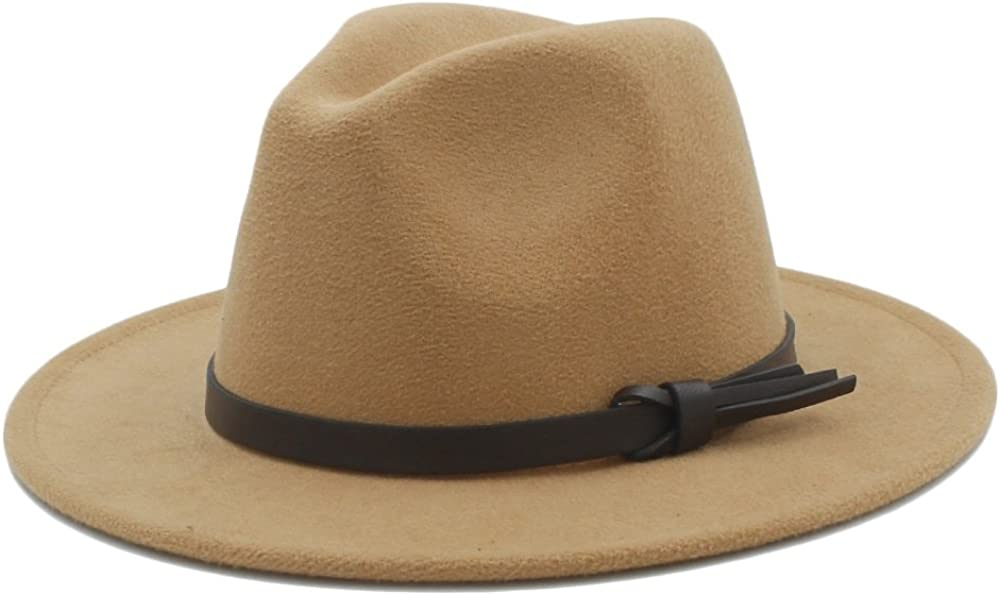 M.D.Y Mens Wide Brim Hat Wool Fedora Panama Winter Hat with Leather Ribbon