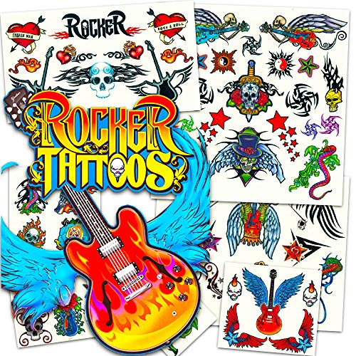 Rock Star Temporary Tattoos Party Favor Set (58 Rocker Tattoos)