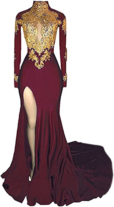 23c6b3f4621 BridalAffair Women s Mermaid High Neck Prom Dress 2018 New Gold Appliques  Long Sleeves Split Evening Gowns. Back