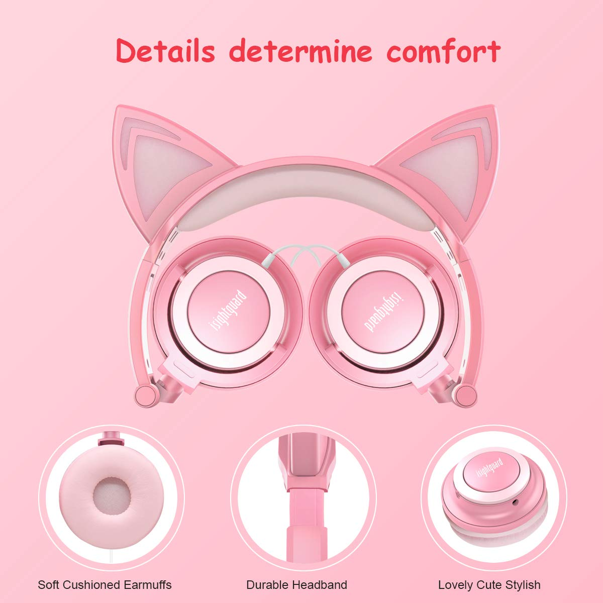 Isightguard Kids Headphones, Wired Headphones On Ear, Cat Ear Headphones with LED for Girls, 3.5mm Audio Jack for Cell Phone,Pink by isightguard (Image #3)